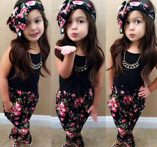 Baby Kids Girl Fancy Flower Printed Top+Pants+Headband Outfit Cloth Set 12M-8Yrs