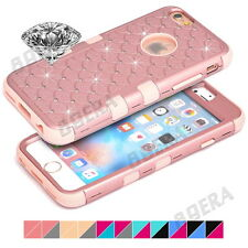 Armor Heavy Duty Bling Diamond Dual Layer Rubber PC Hybrid Case Shell For iPhone