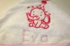 PERSONALISED BABY HOODED BATH TOWEL - EMBROIDERED WITH ANY NAME - GIFT IDEA