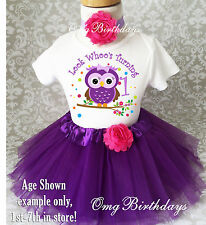 Purple Pink Owl Dots Baby Girl 1st First Birthday Tutu Outfit Shirt Set Party