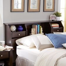 Queen Full Twin Size Bed Wooden Bookcase Storage Shelf Headboard Drawers Frame