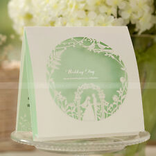 Laser Cut-out Wonderland Green Wedding Invitations Cards and Envelopes, Seals