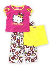 Princess Hello Kitty Girls 3pc Top Pant Short Pajamas Set HK967 2 4 6 8 10