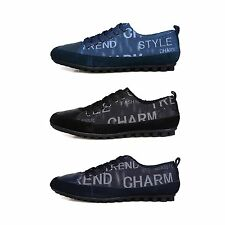 New Stylish Denim Round Toe Laced Up Men Comfort Rubber Sole Casual Sneaker Shoe