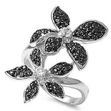 Sterling Silver Pave Set Black Clear CZ Flowers Middle Finger Long 31 mm Ring
