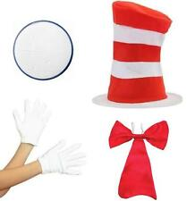 Cat in the Hat Book Week Fancy Dress Striped Hat Bow Tie Gloves Paint Costume TV