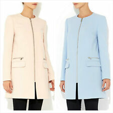 WALLIS COLLARLESS CREPE COAT BLUE & PINK SPRING SUMMER JACKET