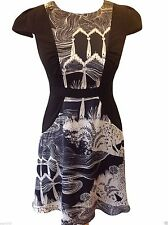 New MONSOON Pretty Black/Cream Fit & Flare Skater Style Dress RRP £60 Sizes 8-16