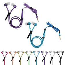 3.5mm Microphone Earbud Premium Tangle Free Zipper Headset Earphone Headphone