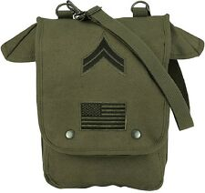OD GREEN W/PATCHES Military Heavyweight Canvas Map Case Shoulder Bag #2 8796