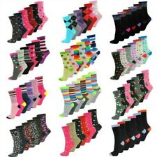 LADIES WOMENS COLOURED DESIGN COTTON BLEND 6 PAIRS DESIGNER ANKLE SOCKS ADULTS