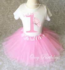 Butterfly Light Pink Number  Baby Girl 1st First Birthday Tutu Outfit Shirt Set