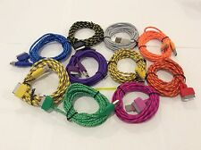 6FT 2M LongCable Colorful Braided Nylon USB Charging Cord For iphone 4S 4 3GS 3G