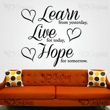LEARN LIVE HOPE Wall Art Quote Heart Sticker Vinyl Decal Home MULTIPLE COLOURS