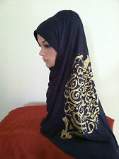 Women Cotton Jersey Free size Scarf/Wrap Hijab with Arabic Calligraphy .