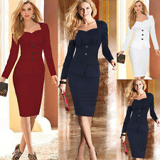 Fashion Sexy Woman Lady Long Sleeve Bodycon Business Party Tunic Pencil Dress