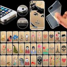 Thin Clear For Apple iPhone 4 4S 5 5S 6 6Plus Case Cover soft Hot Animal Painted