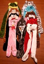 Plush Unisex Animal full Hood 3D long hat scarf mittens soft thermal warm new