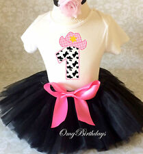 Cowgirl Cow Print Black pink  Girl 1st First Birthday Tutu Outfit Shirt Party