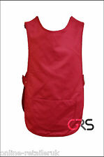 NEW RED TABARD TABBARD APRON CLEANER WAITRESS BAR STAFF COVERALL OVERALL MC