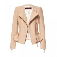 ZARA Peplum Frill Leather Biker Jacket Coat Camel Nude Sold out Bloggers S M