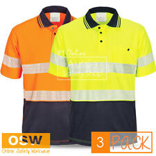 3 X HI VIS STRETCH SEGMENTED REFLECTIVE COTTON BACK COOL DRY POLO SAFETY SHIRTS