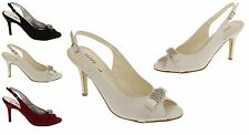 """Womens Satin Shoes Ladies 3.5"""" Inch Heel Bridesmaid Prom Shoe Size 3 4 5 6 7 8"""
