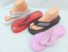 Womens Flip Flops Studded Strap Platform Wedge Thong Sandals Shoes Foam Slip On