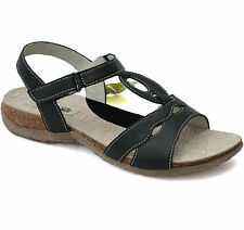 Womens Padders Natura Collection black leather sandals rubber sole velcro fasten