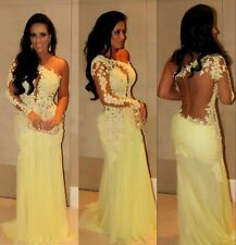 Yellow Mermaid Long Formal Prom Evening Party Cocktail Wedding Dress Stock SZ