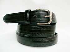 LA9900 EMBOSSED BLACK LEATHER DRESS BELT FOR MEN IN SIZES TO 3XL & FREE US SHIP