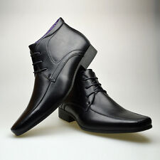 Mens Black Leather Smart Formal Casual Lace Up Boots Shoes UK SIZE 6 7 8 9 10 11