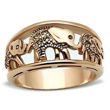 Women's Elephant Caravan Crystal Citrine Rose Gold Plated Fashion Ring