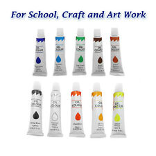 NEW 10 ACRYLIC PAINTS Tubes Assorted Colours Artist Art Craft Drawing Painting