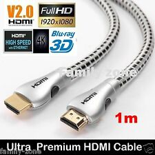 4K Ultra HD Premium HDMI Cable V2.0 Gold Plated 3D High Speed Ethernet 1m-5m