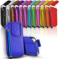 QUALITY MAGNET CLOSE PU LEATHER PULL TAB CASE COVER & PEN FITS VARIOUS MOBILES