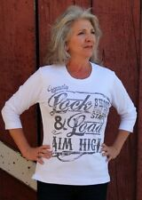 Ladies Western Lock and Load Aim High Shoot for the Stars Tee Shirt White