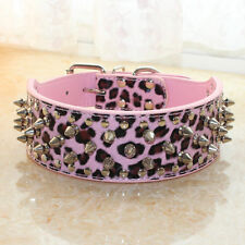 NEW Leather Dog Collar Spiked Studded Large Dog Pitbull Bully Terrier Pet Collar