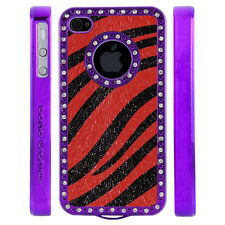 Apple iPhone 4 4S Gem Crystal Rhinestone Red Black Zebra Shimmer Leather case