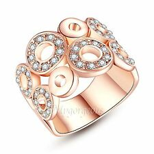 Rose Gold Plated Swarovski Elements Crystals Bubble O Cocktail Ring