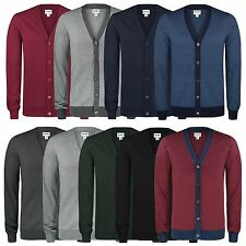 MENS FINE KNIT V-NECK BUTTON CARDIGAN PLAIN OR CONTRAST KNITWEAR TOPS XS-XXL