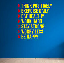 Think Positively Motivation Wall Decal Fitness Quote Spinning Workout Sport Gym