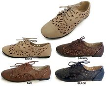 NEW Oxford Flats Cut Out Style Flat Faux Leather Lace Up Jazz Two Tone Laser