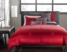 Hotel Collection Frame Lacquer Duvet comforter Cover Vibrant Red $340 modern men