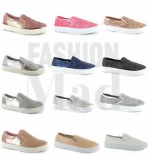 NEW WOMENS LADIES SLIP ON FLAT PLIMSOLLS SNEAKERS SKATER TRAINERS PUMP SHOE SIZE