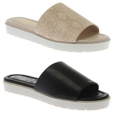 Womens Ladies Flat Cleated Platform Pool Beach Sliders Mules Sandals Shoes Size