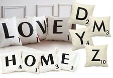 SCRABBLE STYLE LETTERING WHITE CUSHION COVER ALPHABET A - Z