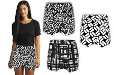 Ladies New Black Abstract Printed Festival Summer Skorts Shorts Skirt Size 6-12