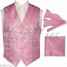 PINK Paisley Tuxedo Dress Vest Waistcoat & SELF TIE Bowtie And Hanky Set Weddin