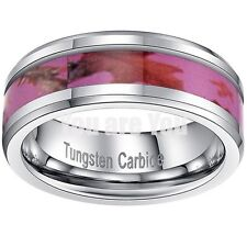 8mm New Pink Camo Unisex Maple Leaf Tungsten Carbide Camouflage Ring Tree Image